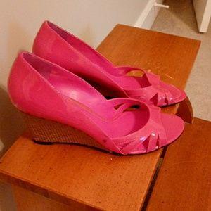 Ralph Lauren 7M Pink Wedge Peep Toe Shoes